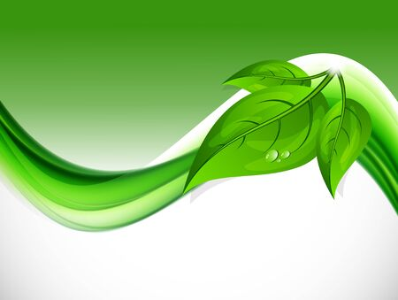 curved: Abstract wave design background with green curved light lines leaves and water drop in dynamic soft style. Vector illustration