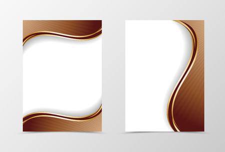 Front and back wave flyer template design. Abstract template with brown curved lines in dynamic style. Vector illustration