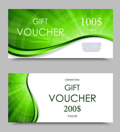 green swirl: Gift company voucher template on one and two hundred dollars with green bent wavy bright swirl pattern. Vector illustration Illustration