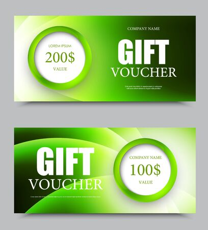 green swirl: Gift company voucher template on one and two hundred dollars with green circles and wavy light swirl pattern. Vector illustration