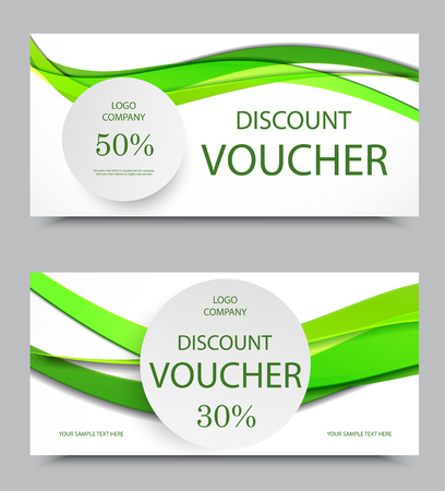 curved line: Gift company voucher template on fifty and thirty percent rates discount with gray circles and wavy green paper lines pattern. Vector illustration