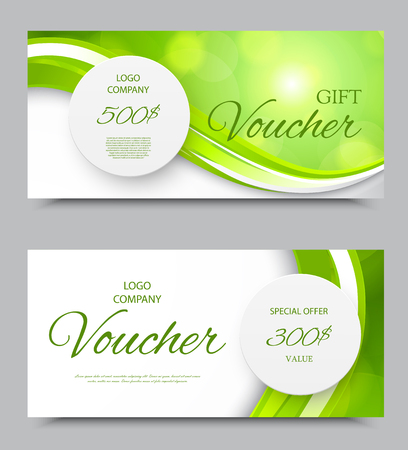 Gift company voucher template on five and three hundred dollars with gray paper circles and green light wavy pattern. Vector illustration Ilustrace