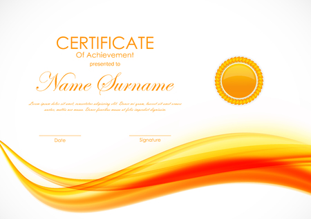 Certificate of achievement template with orange curved dynamic soft wavy background and seal. Vector illustration Illustration
