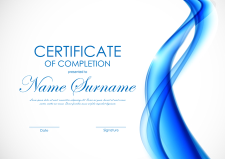 Certificate of completion template with blue wavy interweaving bright soft background. Vector illustration Illustration