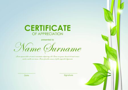 green lines: Certificate of appreciation template with green and gray dynamic interweaving lines and leaves. Vector illustration