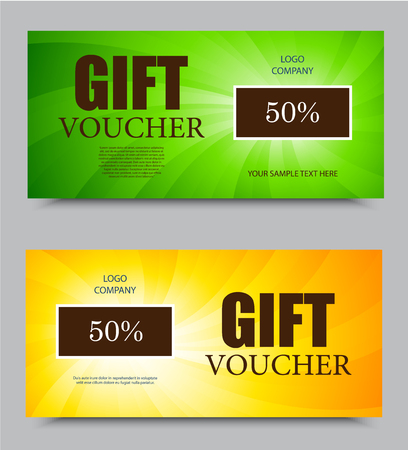 green swirl: Gift voucher template on fifty percent rate discount with orange and green light swirl pattern. Vector illustration