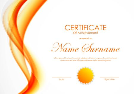 Certificate of achievement template with orange shiny curved soft wavy background and seal. Vector illustration Illustration