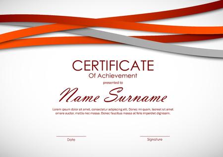 Zertifikat der Leistungsschablone mit gewellten Linien Hintergrund des orange und grauen Papiers. Vektor-Illustration