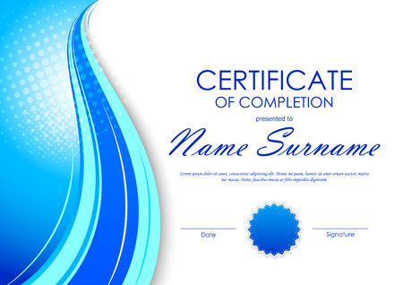 Certificate of completion template with light dynamic blue digital wavy background and seal. Vector illustration