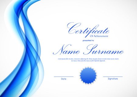 Certificate of achievement template with dynamic blue wavy transparent soft smooth background and seal. Vector illustration Illustration