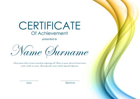 certificate design: Certificate of achievement template with dynamic colorful soft wavy background. Vector illustration