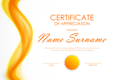 Certificate of appreciation template with orange bright soft wavy background and seal. Vector illustration