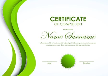Certificate of achievement template with green dynamic elegant certificate of completion template with green curved smooth wavy background and seal vector illustration vector yadclub Choice Image