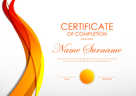 Certificate of completion template with orange digital bent wavy background and seal. Vector illustration