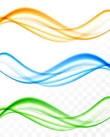 Abstract soft wavy light lines set Illustration