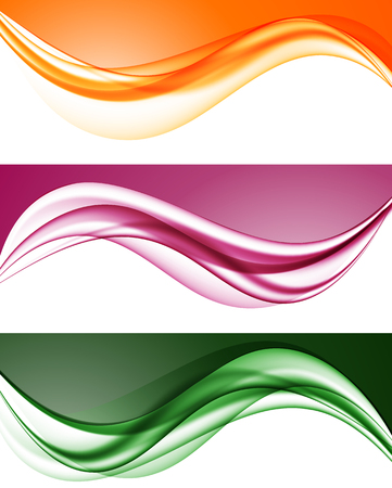 hot: Abstract colorful wavy lines set