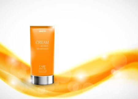 sun cream: Body cream cosmetic design template Stock Photo