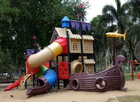 Playground equipment in the form of pirate ship photo