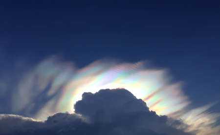 rainbow clouds: Blue sky with rainbow clouds