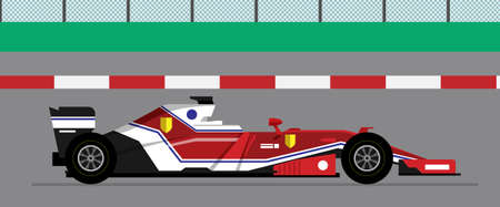 race red detailed car. detailed side of a flat black red formula racing car cartoon. 스톡 콘텐츠 - 138430661