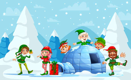 Elves Playing during Christmas Celebrations. Group of elf. Christmas Elf Group Cartoon Character Santa Helper With Present Box Stack. Smiling Santa elf Christmas character standing on snow hill. 向量圖像