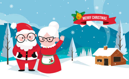 Vector illustration Couple Santa Claus end his wife. Santa Claus and Mrs. Claus Together. Vector cartoon of Santa Claus and his wife. Christmas family. Cheerful elderly. couple in love celebrate.