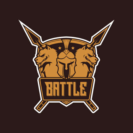 Spartan battle for your logo, illustration, etc. logo badges with ancient warriors. vector illustration with knight, spartan and gladiator. Perfect for fitness center, gym and fight club