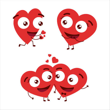 Valentine day love cartoon design. Hearts characters as symbols of love.