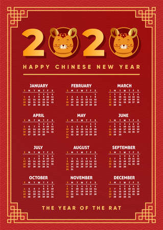 Chinese new year calendar 2020. Calender design. Year of the rat, red, gold and black colors. Concept with Illustrations of asian holidays. Week starts on Sunday. Template of calendar. Vector. Vektoros illusztráció