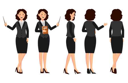 Conjunto de diseño de personajes de empresaria con diferentes poses. Ilustración de vector aislado en blanco en estilo plano de dibujos animados. Mujer en ropa de oficina. para empresas