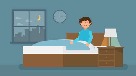 Insomnia and Bad Dream man. Sleepless man in the room. Vector flat cartoon illustration. Frightened man character. Scared boy sitting on the bed 일러스트