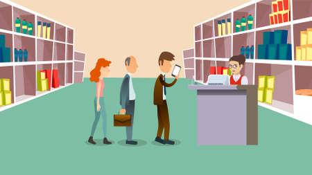 People wait in cashier vector illustration. People Waiting In Long Queue To Cashier Set Vector. Flat Cartoon Illustration
