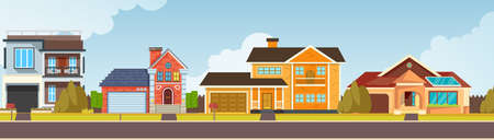 Row of different houses along the street. Home house in flat design style. Large suburban homes. Colorful residential house. Building, exterior, modern. cityscape template with cottages vector.