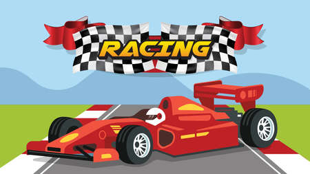 Formula 1 race car. vector sports car. Racing asphalt road. Start and finish concept. Vector illustration. Speeding Racing Car with Checkered Flag & Racetrack Design