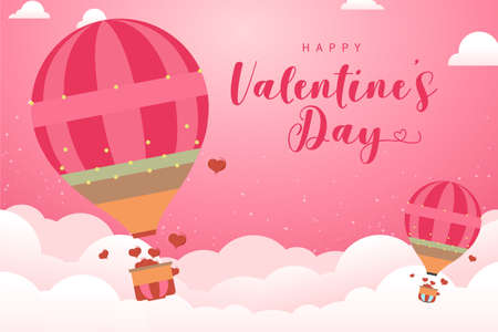 Balloon flying and scattering little in the sky, valentine day concept, vector illustration of love. Origami made hot air over grass float digital craft style. Illustration
