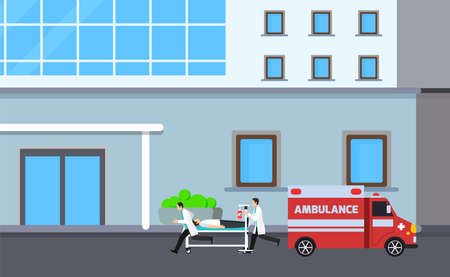 Medicine ambulance concept in flat style. Young doctor paramedic man, car and patient on stretcher. emergency carrying vector illustration. medical service with staff. Ilustracja