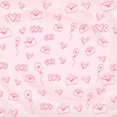 Valentine Day handwritten Hearts pattern on pink background. Cute doodle style vector pattern. Marker different heart shapes silhouettes. Hand drawn ornament. Red illustration.