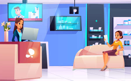 Medicine concept with doctor and patients in flat style on hospital hall background. Young woman medical staff women reception. Consultation diagnosis for illness people. waiting room vector.
