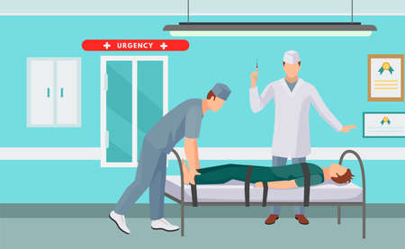 emergency doctor transporting victim after accident on the stretcher. Paramedic carrying an injured man medical. Vector cartoon illustration isolated background.