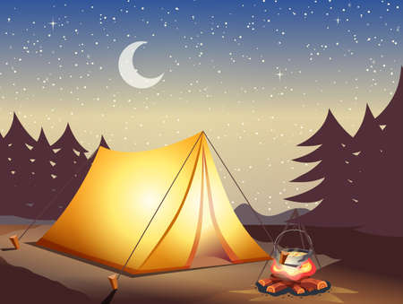 Vector horizontal banner with night mountains, campfire, tent, moon and stars. Camping stock background forest riverbanks. Landscape advertisement for recreation tourism. Summer suitcases bonfire.