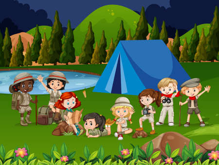 Illustration of Kids Wandering Around a Camp Site. Children camping out in the park. Set different boys girls tourist on nature. overnight stay tent, picking mushrooms, fun and relaxation. Scout.