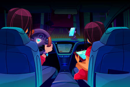 Hands driving a car on the highway. Flat vector illustration. holding realistic of modern interior with dark dashboard inside salon. Driver's seat, steering wheel.