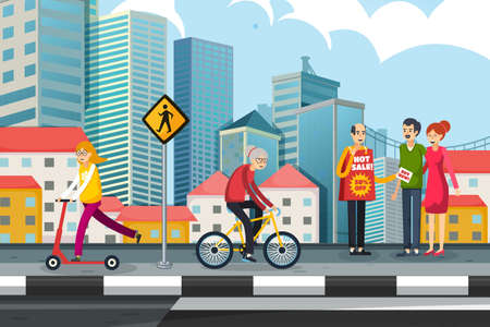 Crowd of People Walking on the Street with Cityscape Background. Relaxing In Beautiful city Riding Bicycle And Communicating Horizontal Banner Flat Vector Illustration. cartoon building.Building urban