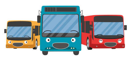 Picture of bus on white background, flat style illustration. Vector School. Front View with City . set retro public transport. Cartoon character.