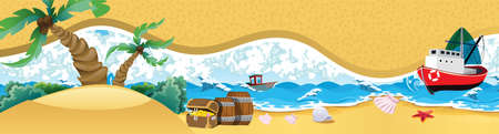 sea wave on sandy beach. Treasure chest full of gold coins. Vector flat cartoon illustration. Wooden ship near the tropical island with palms and treasure chest. vector illustration.