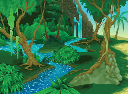 Vector cartoon illustration of background morning jungle. Bright with ferns and flowers. For design game, websites or mobile phones, printing. Amazon Trees Wilderness.