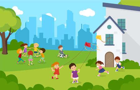 Happy children playing kite and running in playground.