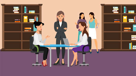 Angry business people arguing during meeting. Having problem working in team together conflict concept. Business woman screaming at employees vector design illustration.