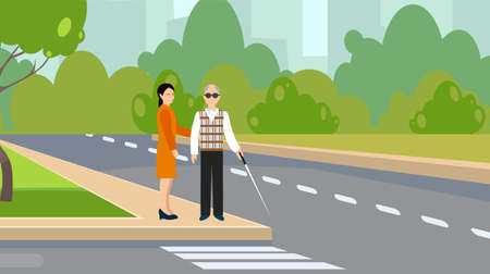 Smiling woman takes care of old man to help him cross the road in city on green traffic light. Flat illustration elderly people assistance and support outdoors. Ilustracja