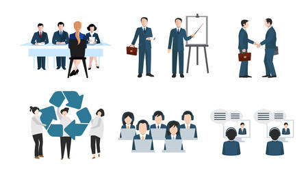 Effective management organizing work processes with tasks on project board activities business people vector concept. Illustration of working organization, development partnership.
